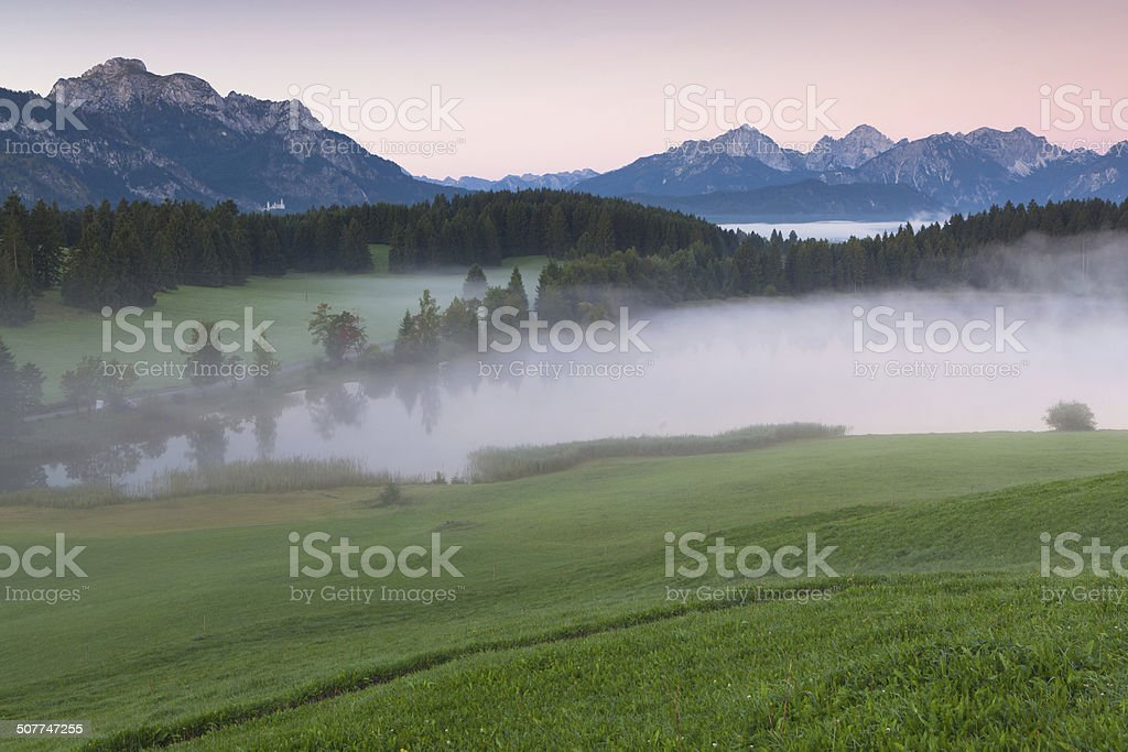 tranquil autumn scene on a bavarian lake stock photo