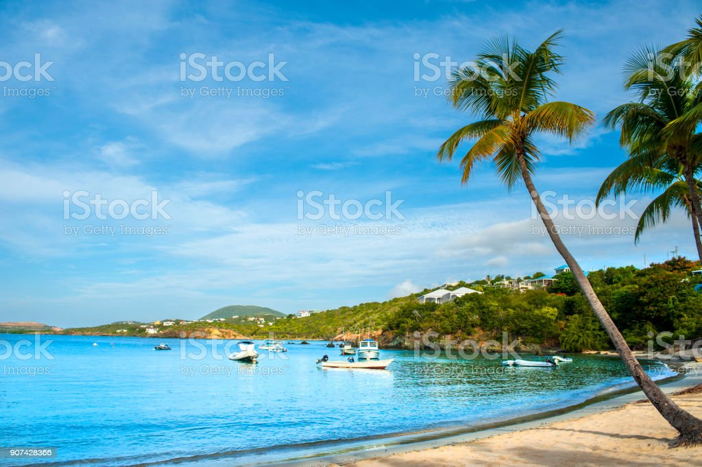 Tranquil bay in St Thomas, Virgin Islands stock photo