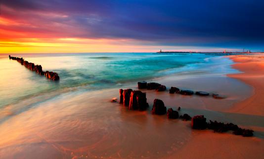 Tranquil Coastal Sunset on the Baltic sea beach