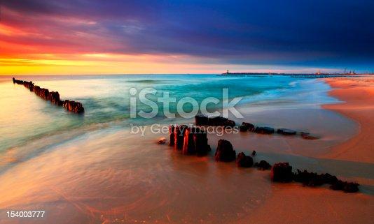 Tranquil Coastal Sunset on Baltic sea beach