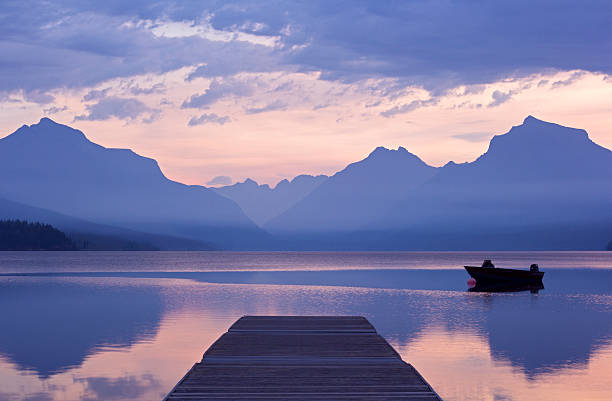 tranquil dawn - mcdonald lake stock pictures, royalty-free photos & images