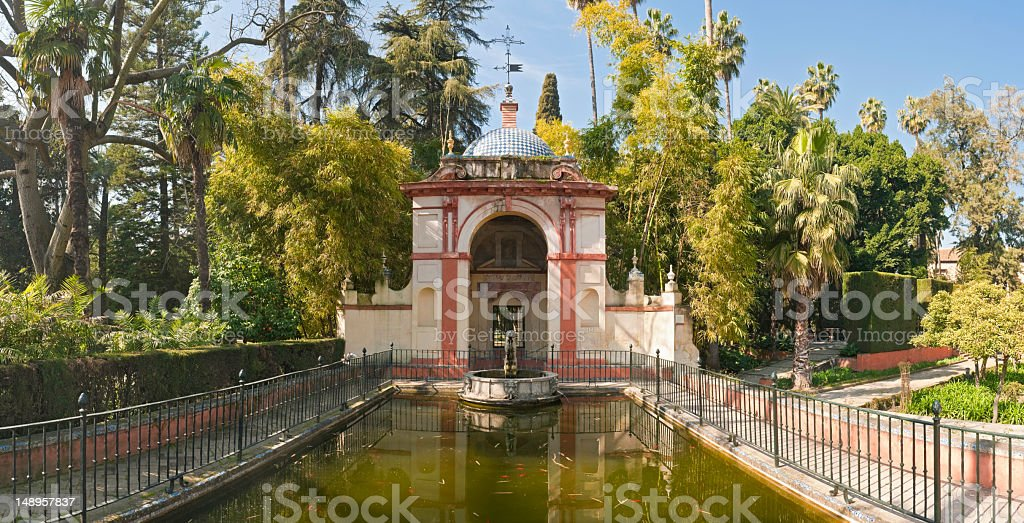 Tranquil garden folly reflected royalty-free stock photo