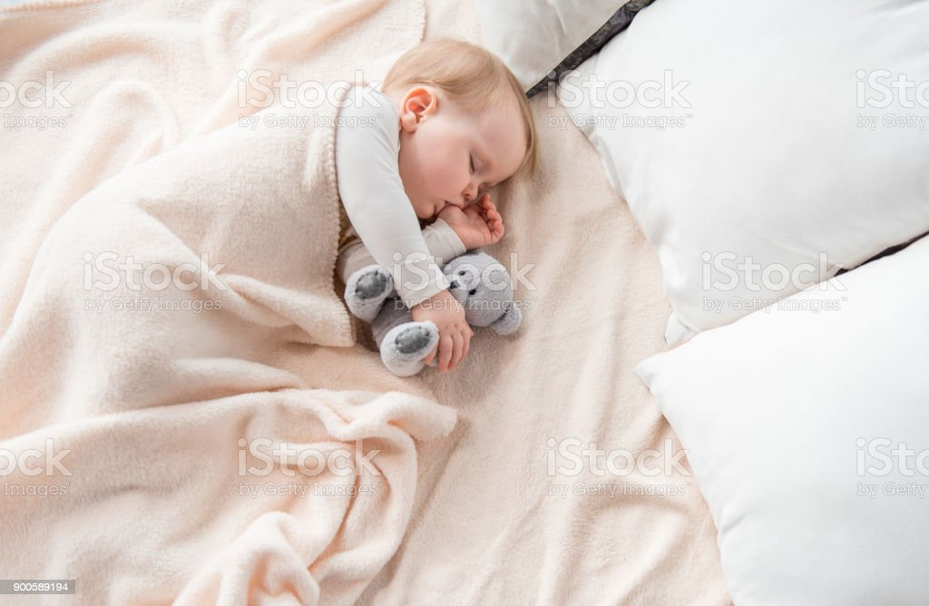 Tranquil infant dreaming with lovely toy stock photo