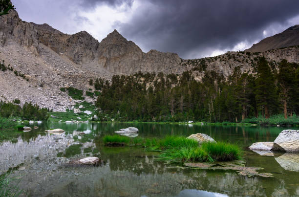 Tranquil Lake in the Sierra Nevada stock photo
