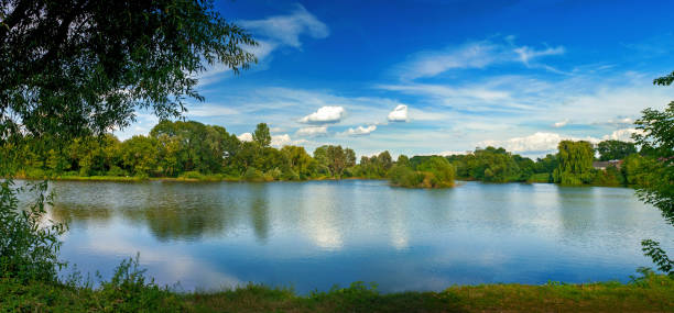 Tranquil landscape at a lake, with white clouds sky and the trees reflected in the clean blue water Tranquil landscape at a lake, with the vibrant sky, white clouds and the trees reflected in the clean blue water riverbank stock pictures, royalty-free photos & images