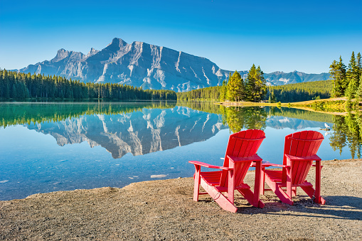 Tranquil landscape with Mt Rundle reflecting in Two Jack Lake, Banff National Park, Alberta Canada on a sunny morning.