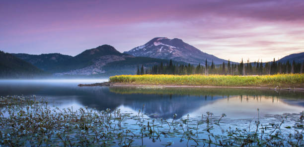 Tranquil moments at Sparks Lake, Oregon stock photo