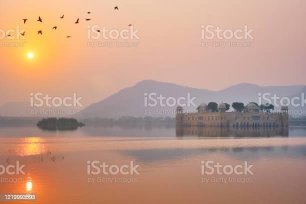 Photo of Tranquil morning at Jal Mahal Water Palace at sunrise in Jaipur. Rajasthan, India