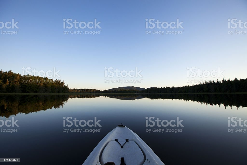 Tranquil Morning on the Lake in a Kayak stock photo