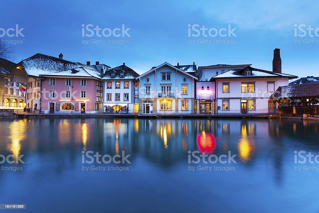 Tranquil Night in Switzerland stock photo