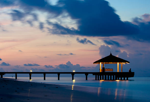 Tranquil Ocean in the twilight stock photo