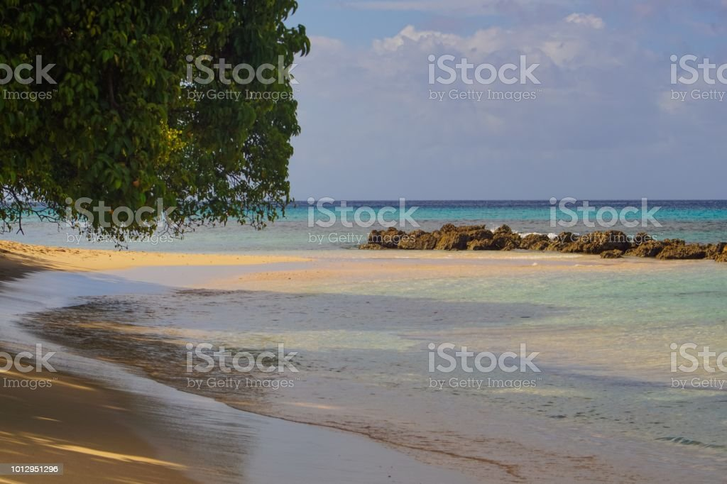 Tranquil peaceful beach in Barbados stock photo
