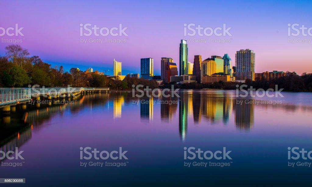 Tranquil Purple Austin Morning Mirrored Lake Reflection stock photo