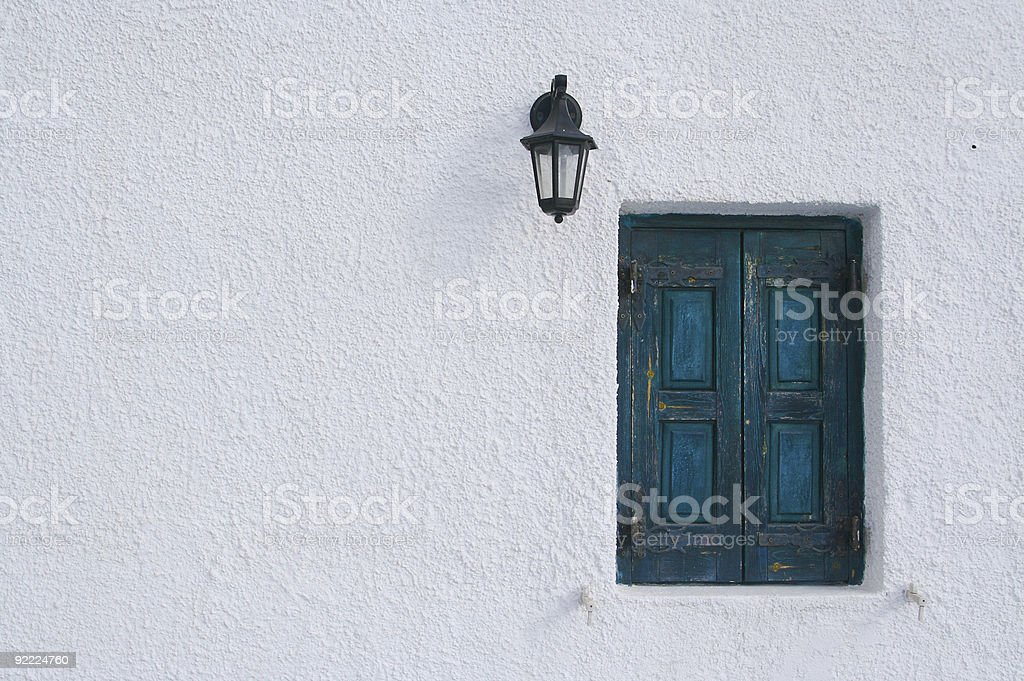 Tranquil Santorini window scene. royalty-free stock photo