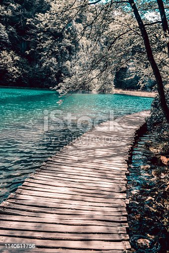 Tranquil Scene Of A Wooden Bridge On Plitvice Lakes
