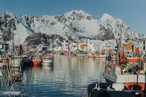 Tranquil scene of fishing village on Lofoten islands in winter
