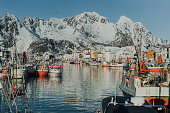 istock Tranquil scene of fishing village on Lofoten islands in winter 1257757457