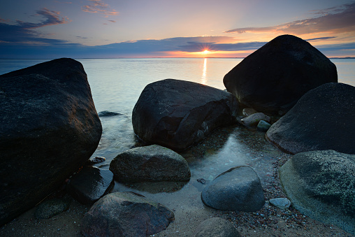 Tranquil Seascape with Huge Boulders at Sunset, Rugen Island, Germany