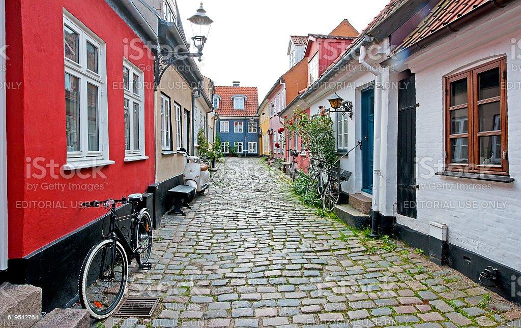 Tranquil sidestreet, Aalborg, Denmark stock photo