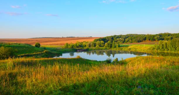 ruhigen sommerlandschaft mit schönen fluss, wald, wiesen und grünen hügeln. sonnigen, windstillen morgen. - teich stock-fotos und bilder