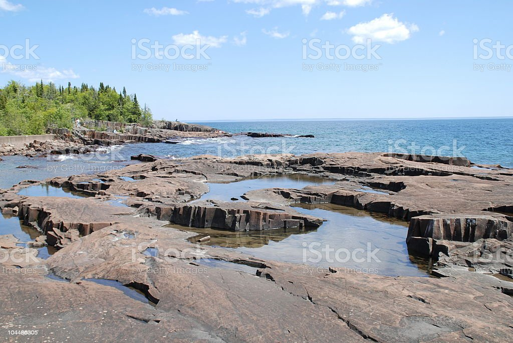 Tranquil Tide Pools on Lake Superior stock photo