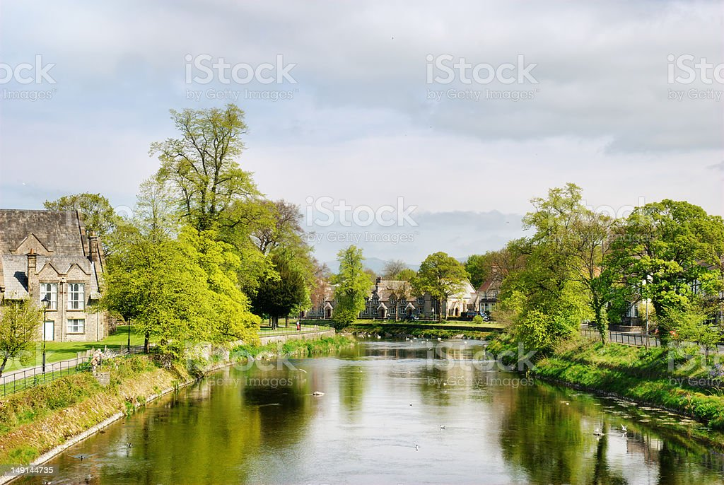 Tranquil view of the River Kent at Kendal stock photo