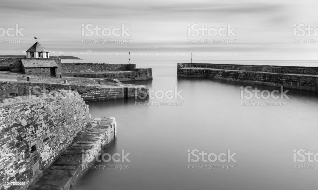 Tranquil Water, Charlestown Harbour, Cornwall stock photo