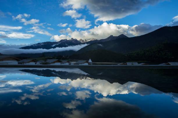 Tranquil water scene stock photo