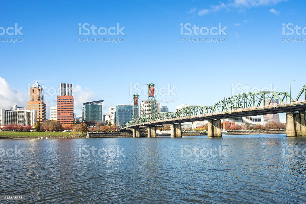 tranquil water with cityscape and skyline of portland stock photo