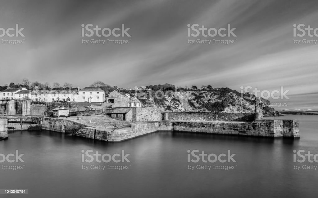 Tranquil Waters and sky Charlestown Harbour, Cornwall stock photo