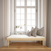 istock Tranquil Window Side with Pillows and Bench 1191676803
