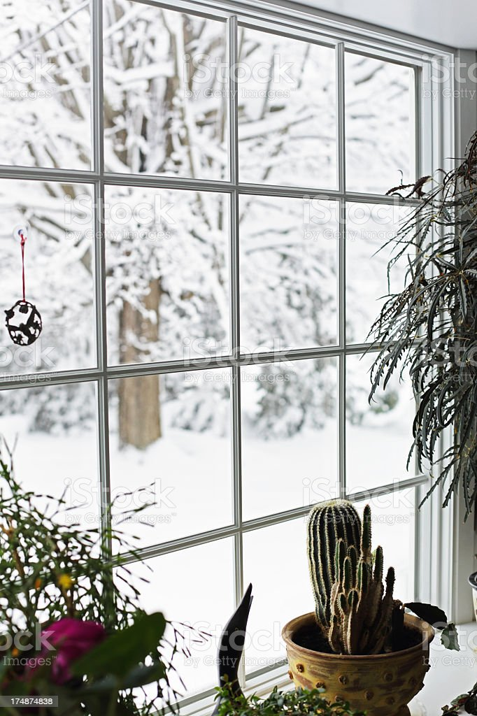 Tranquil Winter Blizzard Bay Window stock photo