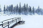 tranquil winter landscape at the Hoermoos Alpe, Allgaeu Alps near Oberstaufen, Bavarian Alps, Germany