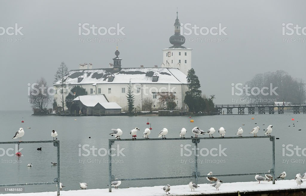 Tranquil Winter Scenery at Lake Traun stock photo