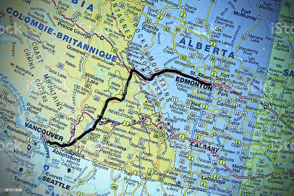 Trans Mountain Pipeline  on the Map stock photo