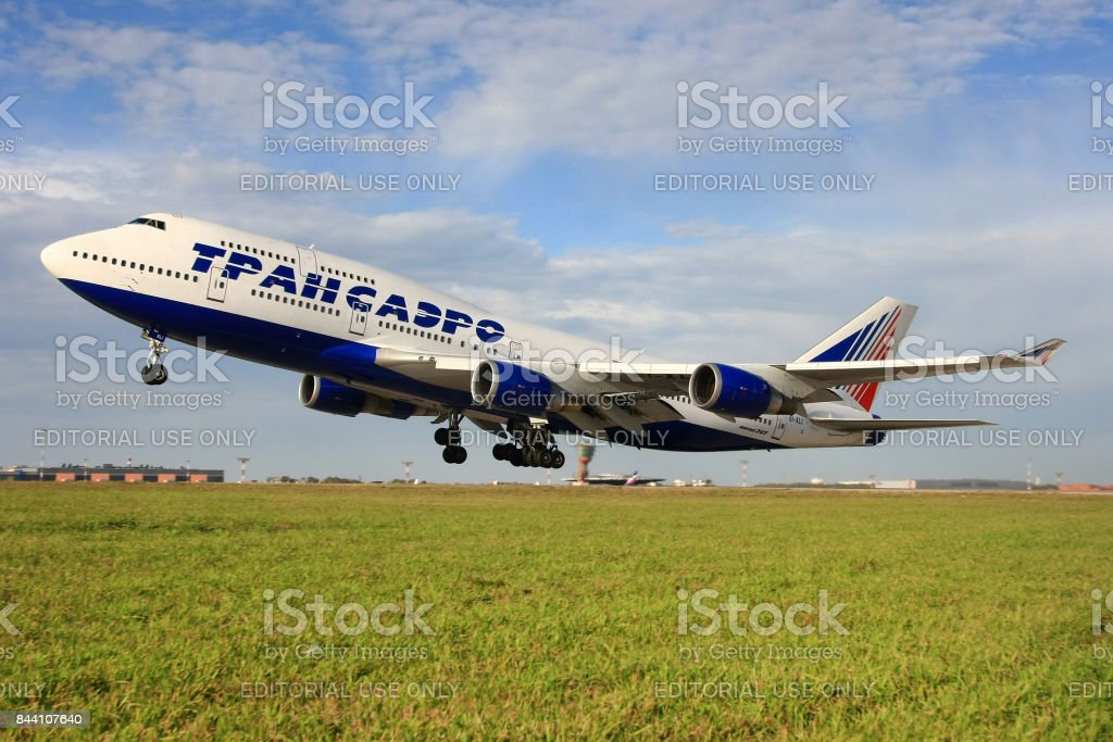 Transaero Ailrlines Boeing 747-446 EI-XLI taking off at Sheremetyevo international airport. stock photo
