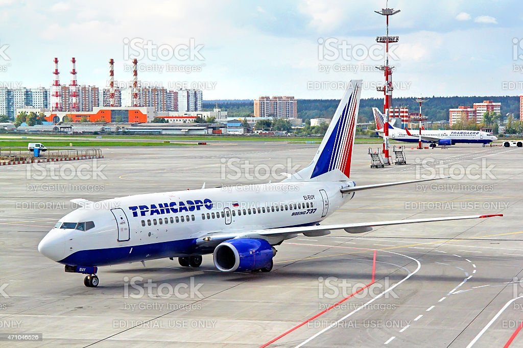 Transaero Boeing 737 stock photo
