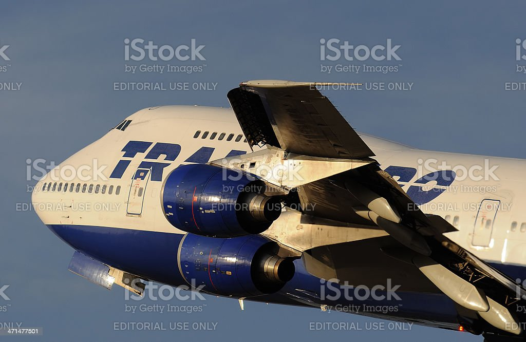 Transaero Boeing 747 departing from the Moscow royalty-free stock photo