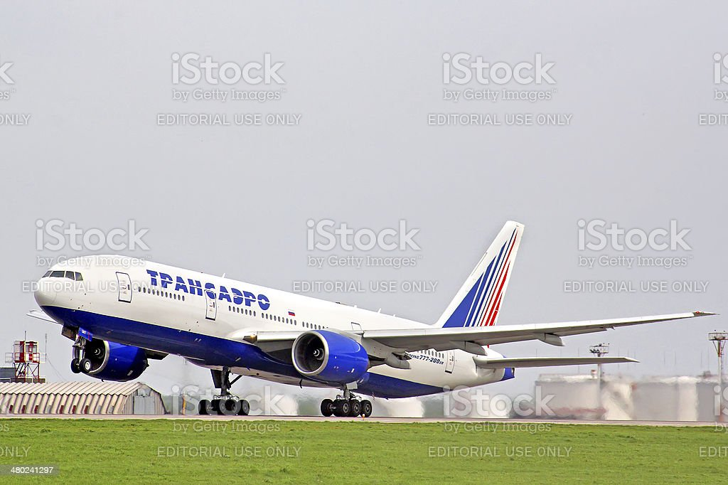 Transaero Boeing 777 stock photo