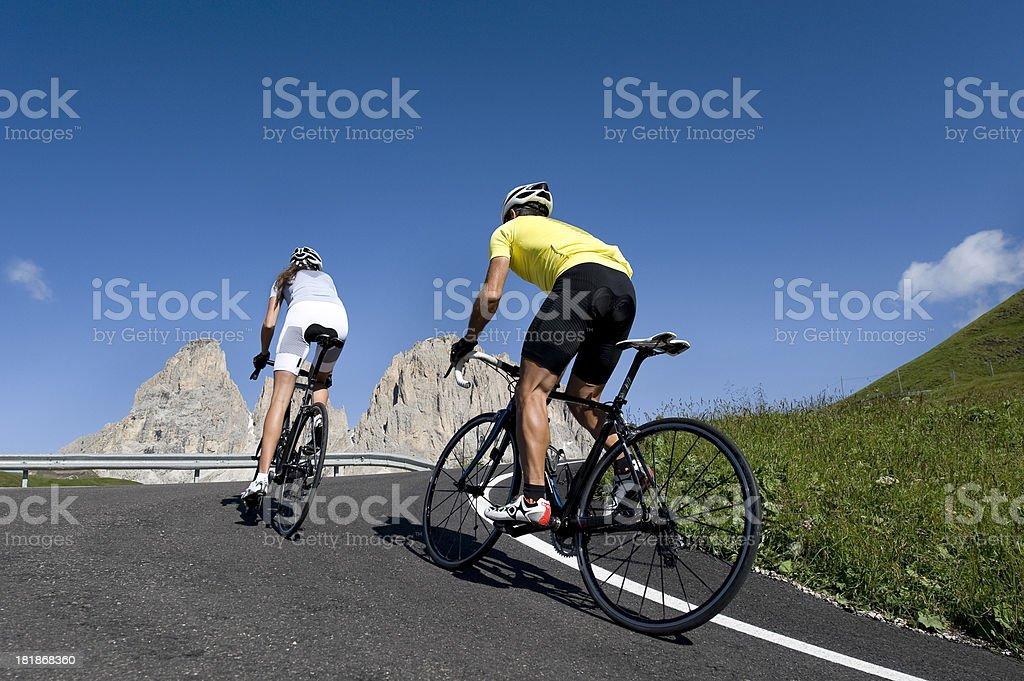 Transalp, the cycling race team battling for win royalty-free stock photo