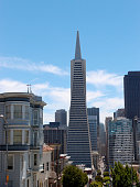 San Francisco - June 14, 2013: Transamerica Pyramid and tall buildings of downtown of San Francisco City, California.  Seen from Telegraph Hill.