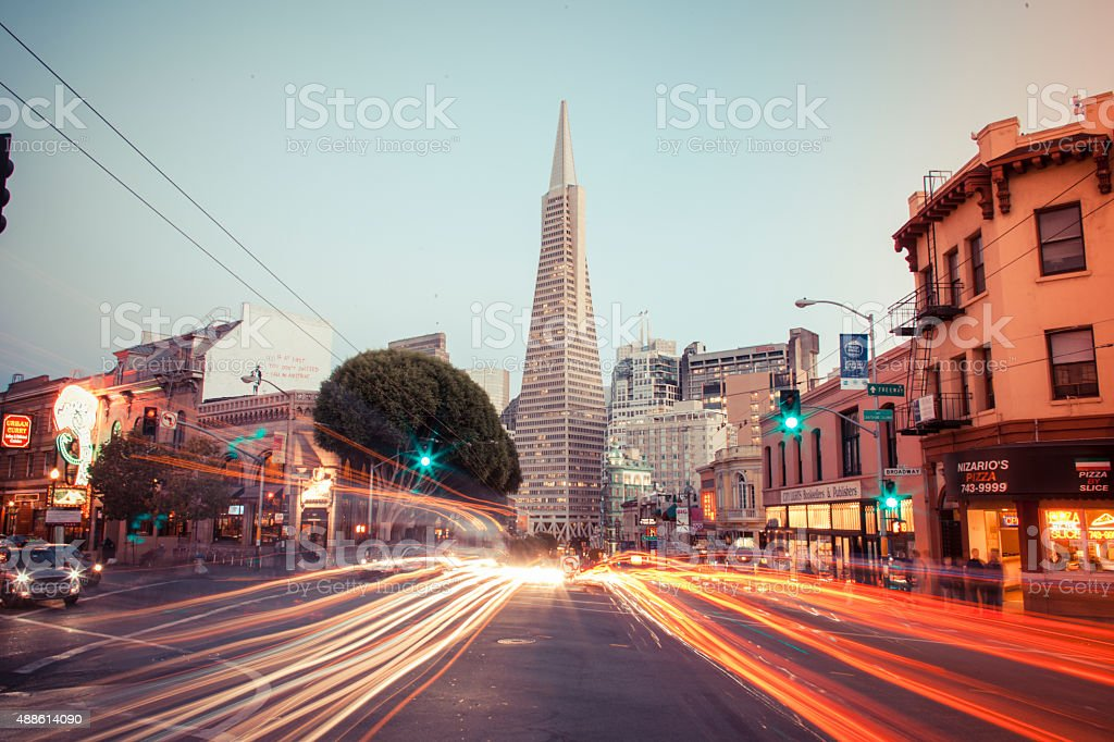 Transamerica Pyramid with Light Streaks San Francisco stock photo