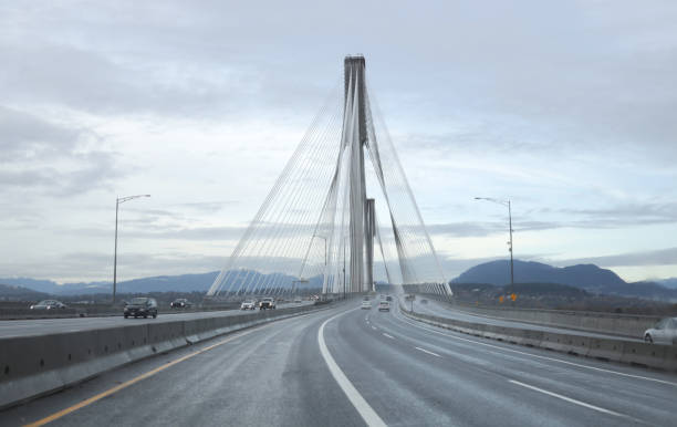 Trans-Canada Highway and Port Mann Bridge in Metro Vancouver stock photo