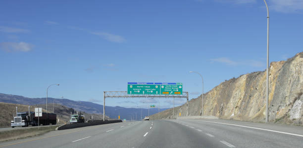 Trans-Canada Highway West of Kamloops, British Columbia stock photo