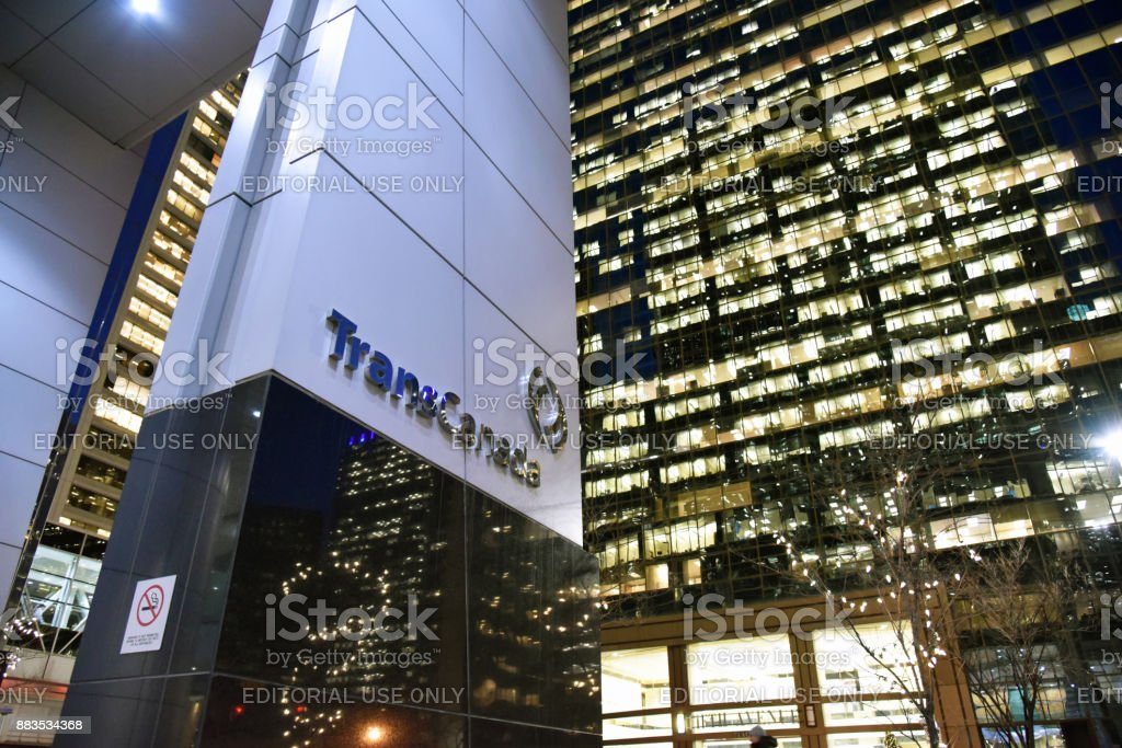 TransCanada pipelines building in Calgary with logo in November 2017. stock photo