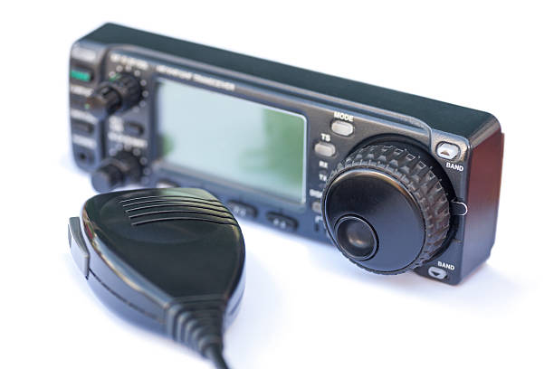 transceiver radio station and microphone - ham radio stock photos and pictures