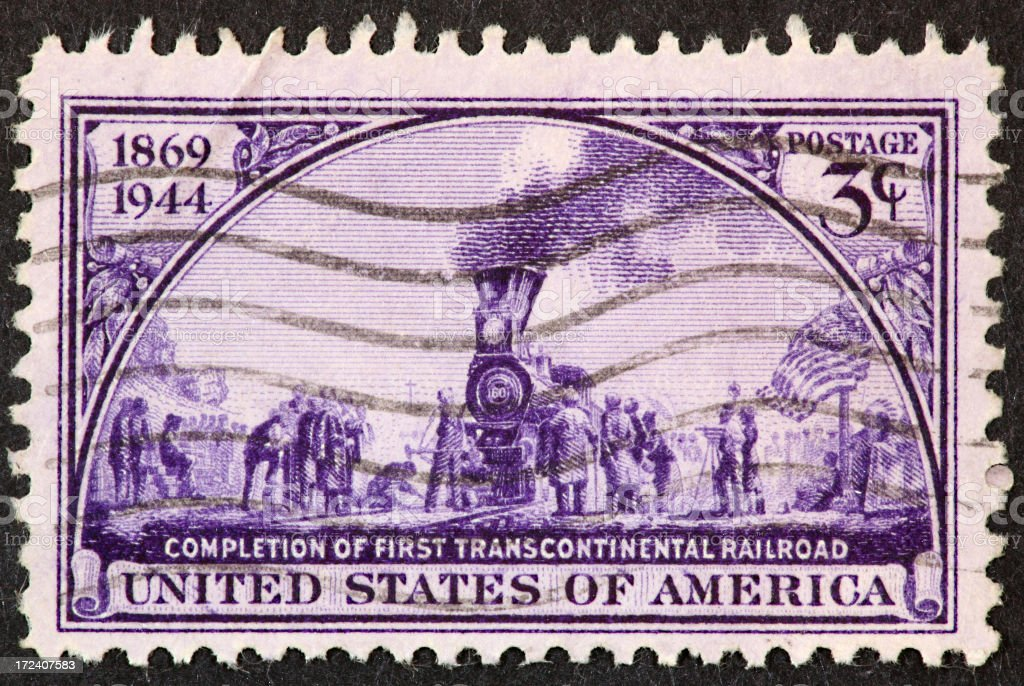 transcontinental railroad stamp 1944 royalty-free stock photo
