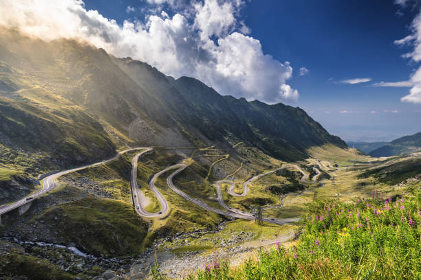 transfagarasan highway, probably the most beautiful road in the world, europe, romania (transfagarashan) - romania stock photos and pictures