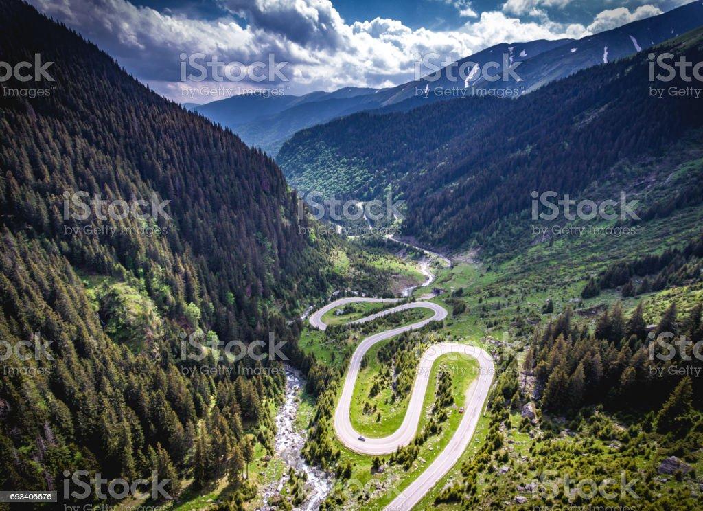 Transfagarasan Romania winding road aerial view HDR image stock photo