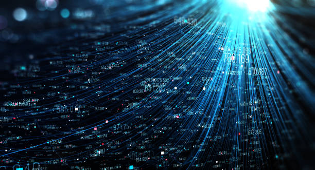 Transfer and storage of data sets Data transmission channel. Motion of digital data flow. Transferring of big data. telephone line stock pictures, royalty-free photos & images